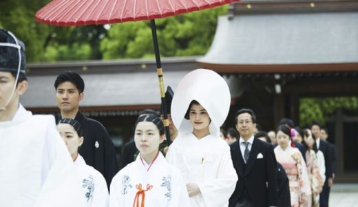 Japanese wedding ceremony at shrine